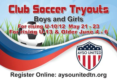 Club Soccer Tryouts Yard Sign