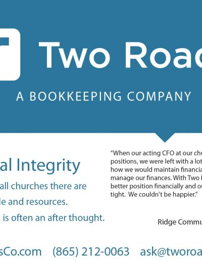 Two Roads Bookkeeping Rack Cards