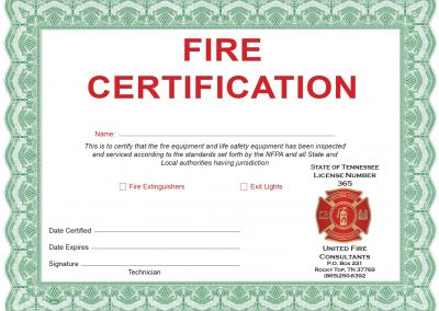 UFC Fire Certificate